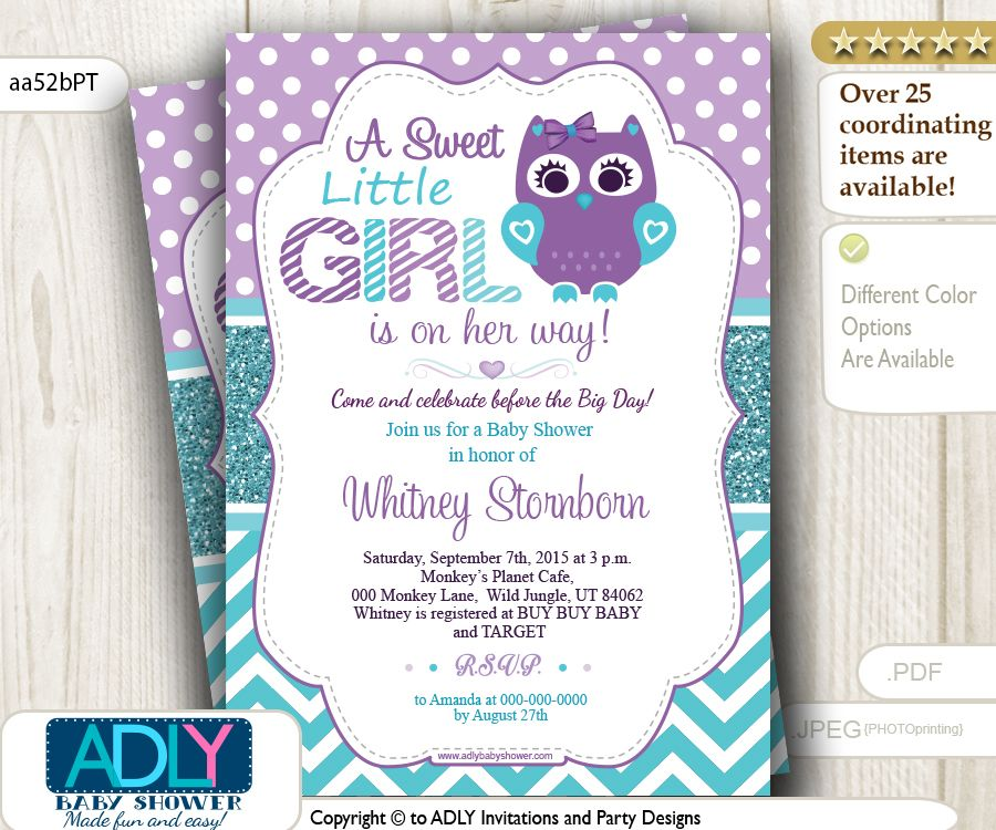 Purple Teal Girl Owl Baby Shower Invitation.