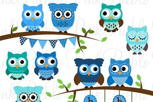 Boy Baby Shower Owl Clipart & Vector.
