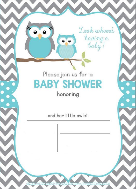 Free Owl Baby Shower Invitations.