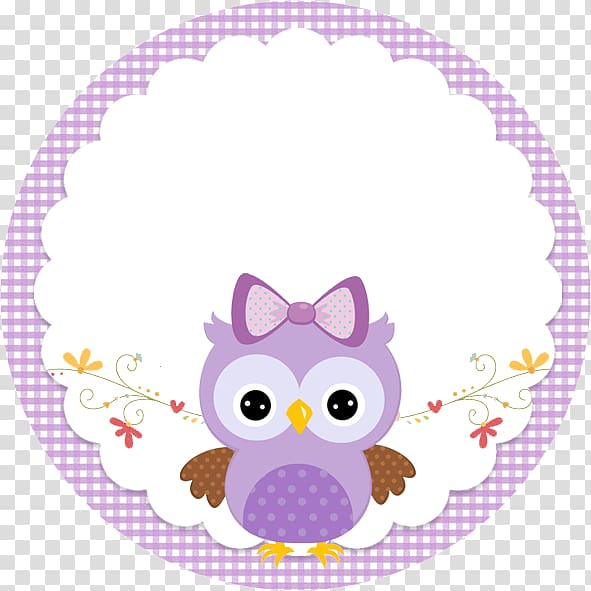 Little Owl Party Baby shower Lilac, owl transparent.