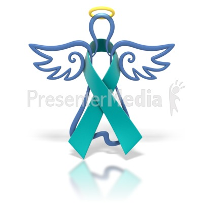 Angel Outline Teal Ribbon.