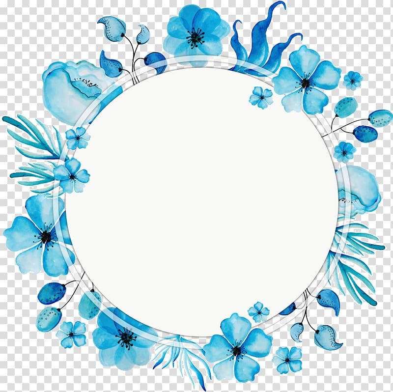 Flower, Watercolor blue wreath title box, blue flower frame.