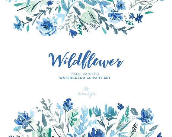 Watercolor Floral Clip Art.