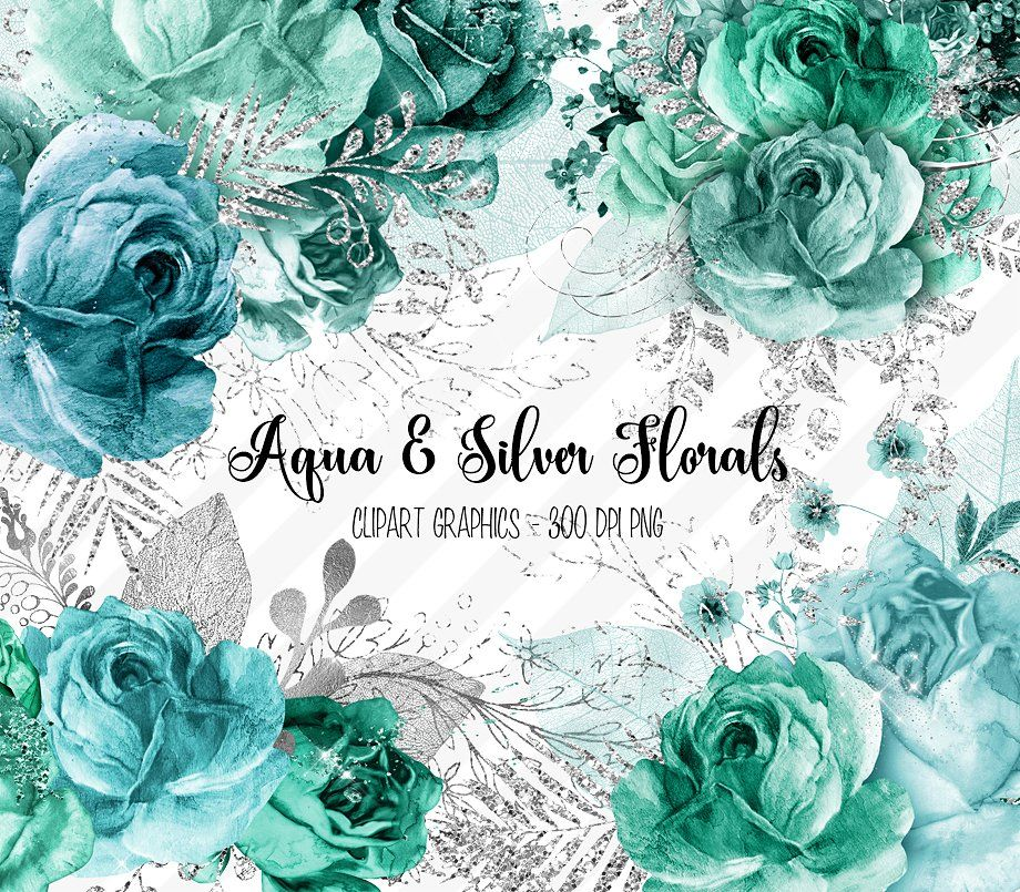 Aqua and Silver Floral Clipart #shower#bridal#props.