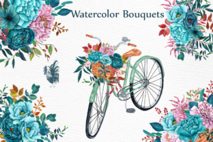 Watercolor clipart WATERCOLOR BOUQUETS Bicycle clipart Romantic clipart  Teal Flowers Wedding bouquets.