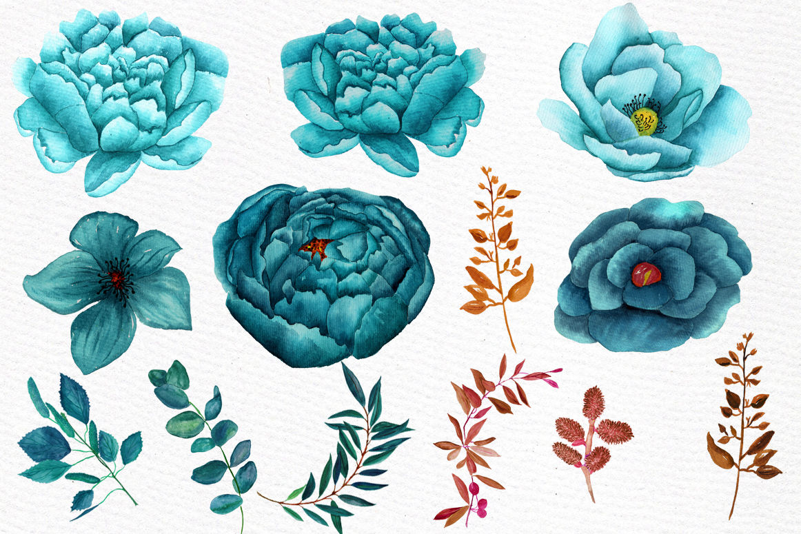 Watercolor teal flowers clipart By LeCoqDesign.