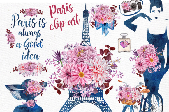 Paris Watercolor clipart: Eiffel tower clipart Teal Flowers Floral clipart  Paris Quotes Audrey png.