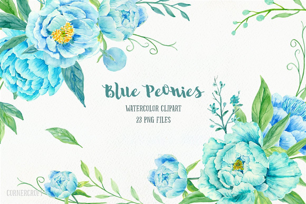 Peony Clip Art, Watercolor blue peony clipart, blue peonies, decorative  elements, floral arrangements for instant download.