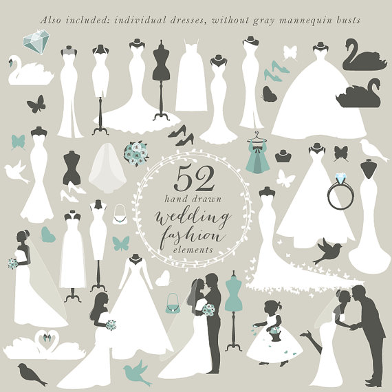 Wedding Gown Clip Art: Teal Wedding Dress Clipart 20 Free Cliparts