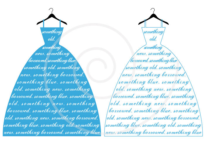 Wedding Dress Clipart Blue.