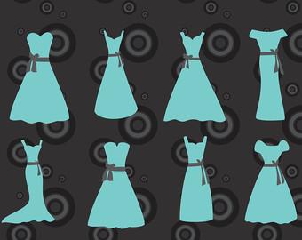 Teal Wedding Dress Clipart.