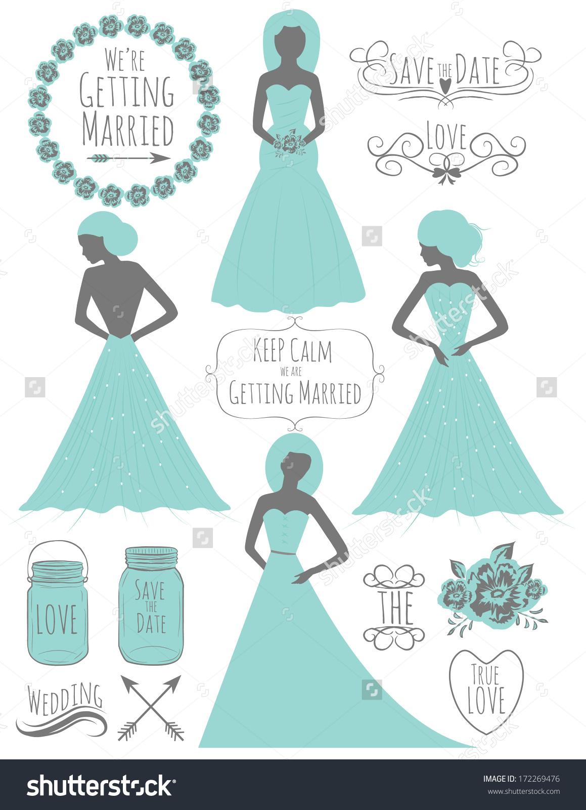 Wedding Clipart Set Turquoise Wedding Dress Stock Vector 172269476.