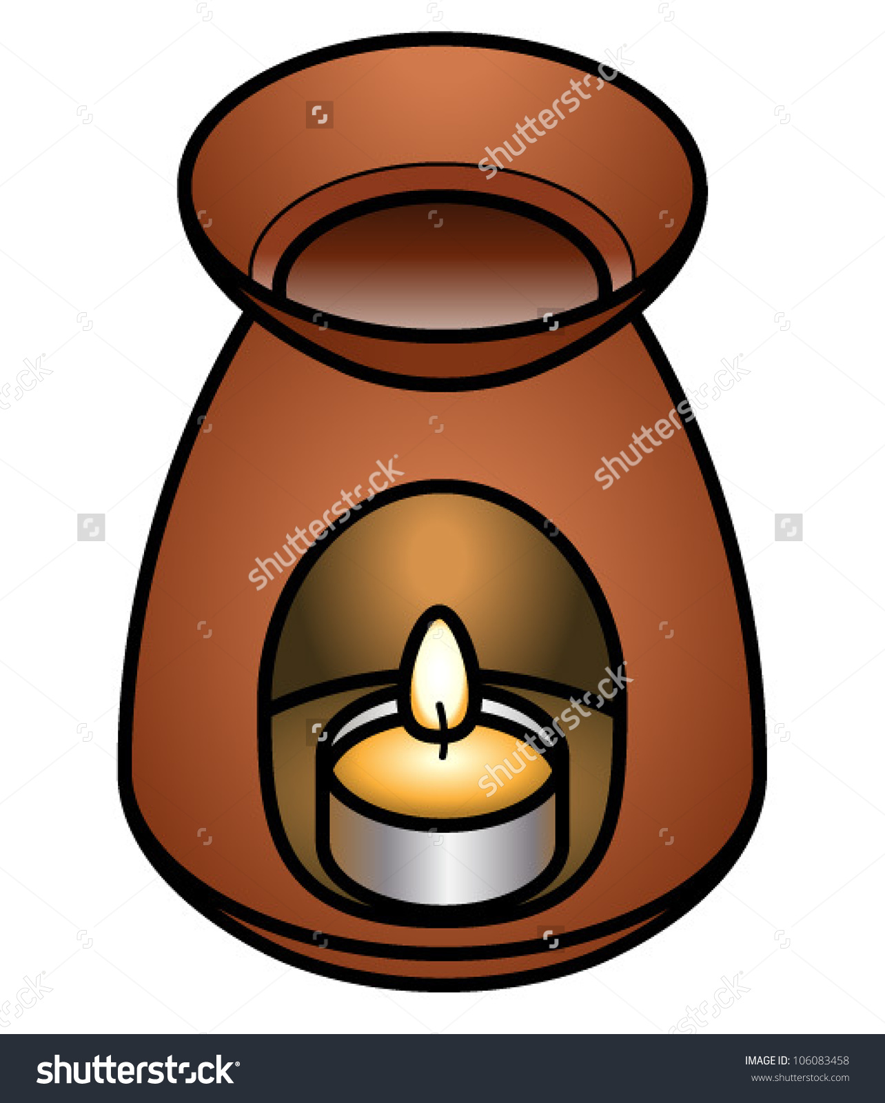 A Terracotta Oil Burner With A Tea Light And Some Essential Oils.