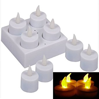 LED Tea Lights with Charging Plate, 8 pieces, Flickering Candle.