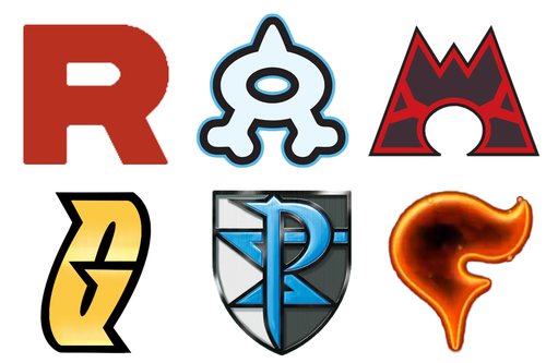 Pokemon evil teams: Team Rocket, Team Aqua, Team Magma, Team.
