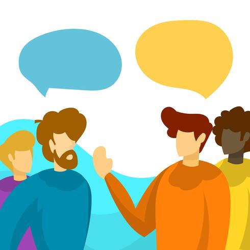 Flat People Talking Team Work With Minimalist Background.