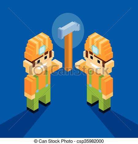 Vector Clipart of Man Service Worker Technical Support Team Hammer.