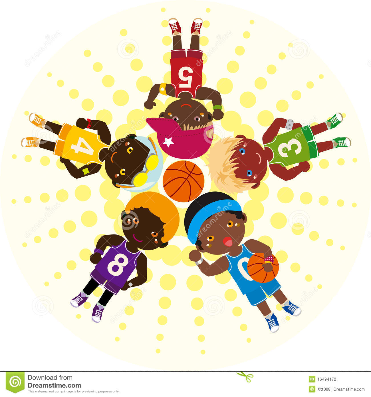 Basketball Team Huddle Clipart.