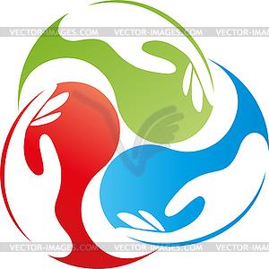 Three hands, drops, team, logo, icon.