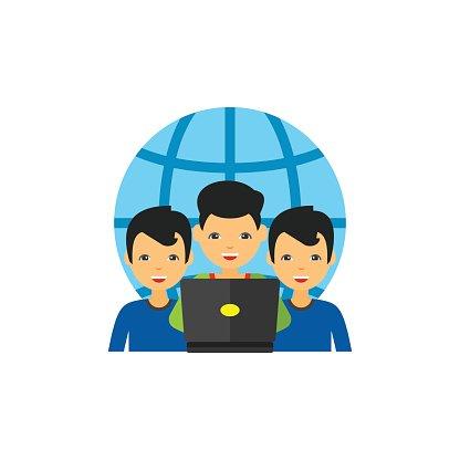 Virtual Team of Three Men Icon premium clipart.
