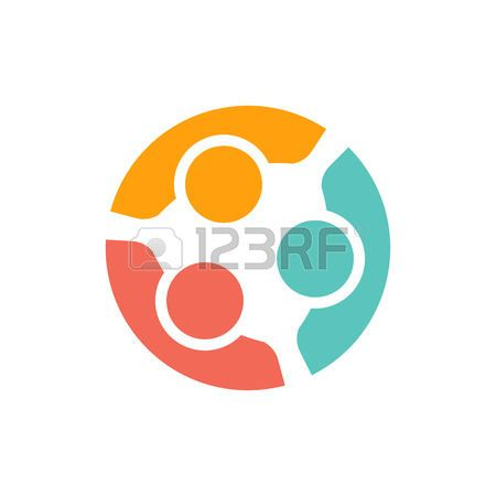 Team Of Three People Logo. Concept Of People Group Meeting.