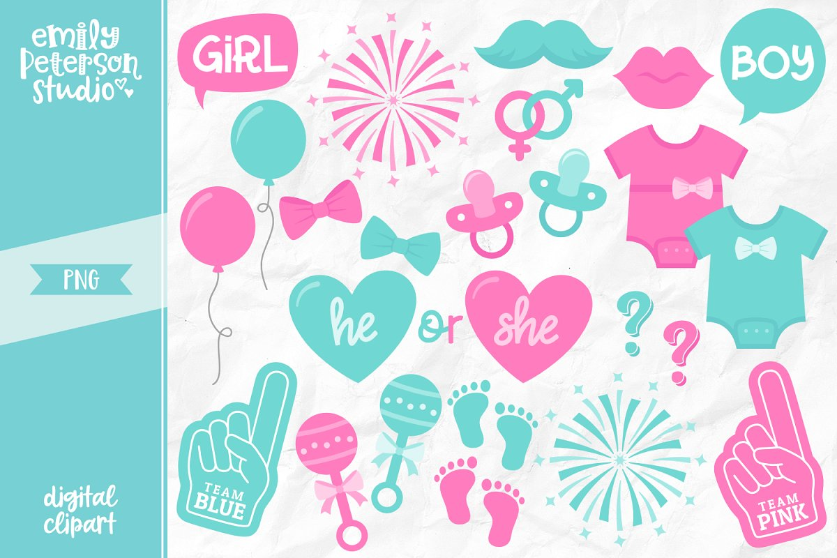 Gender Reveal Clipart.