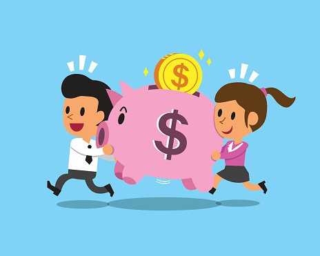 Cartoon business team carrying pink piggy Clipart Image.