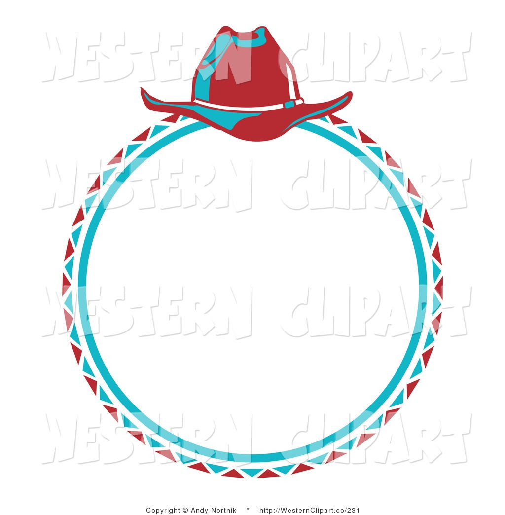 Vector Western Clip Art of a Blue Cowboy Lasso and a Red Hat.