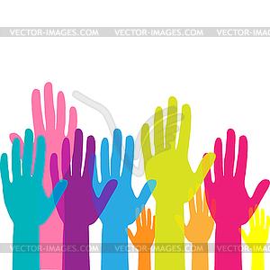 Colorful up hands. Raised hands volunteering. team.