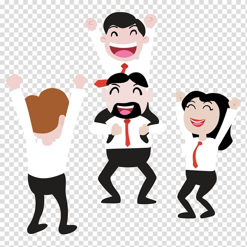 Teamwork , Cheering Business Team transparent background PNG.