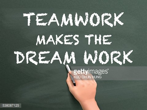 teamwork makes the dream work written by hand Clipart Image.