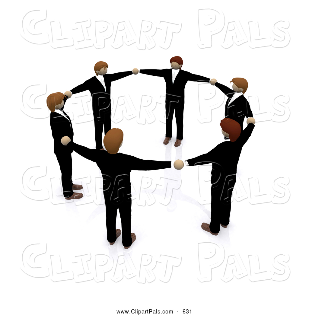Pal Clipart of a 3d Circle of Business Men Holding Hands.
