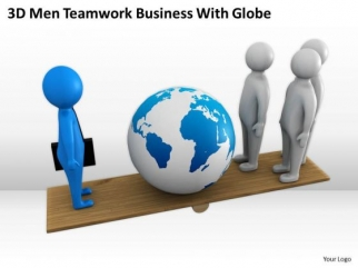 Business People Clipart 3d Men Teamwork With Globe PowerPoint.
