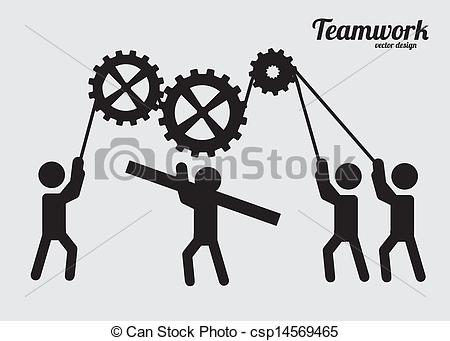 Clip Art Vector of teamwork design over gray background vector.