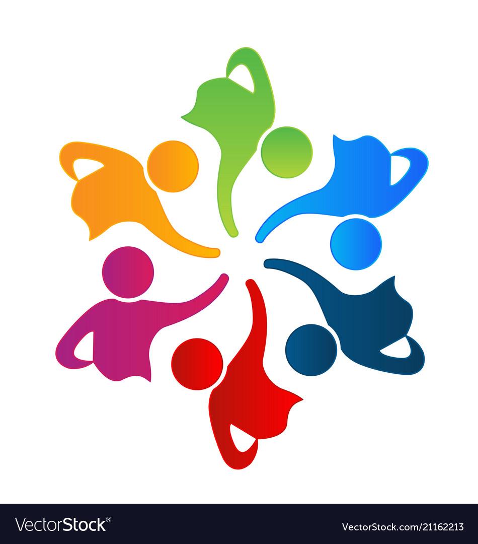 Teamwork unity people logo design.