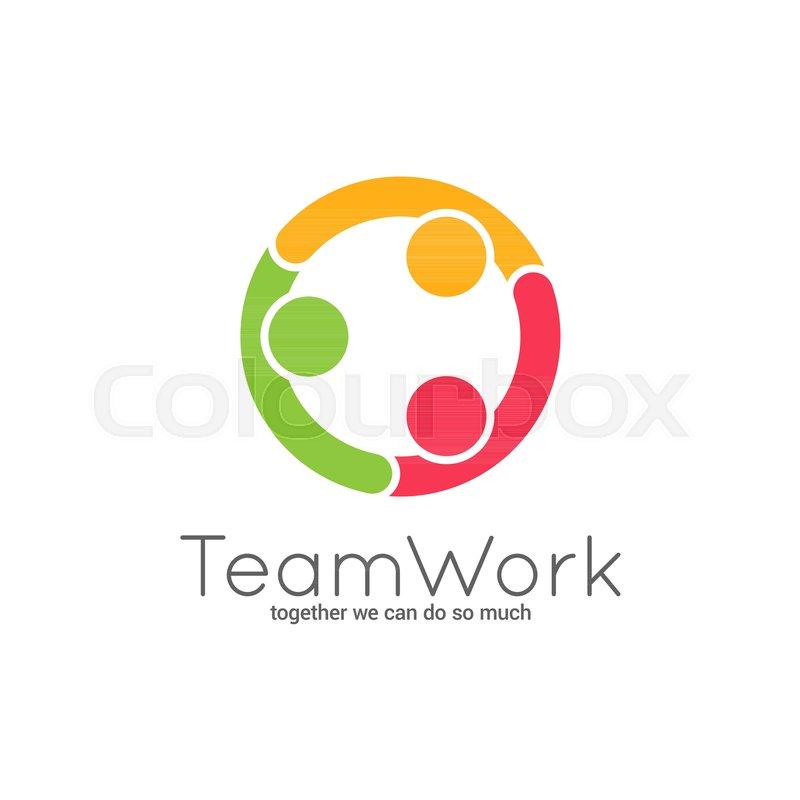 Teamwork logo. Team union on white.