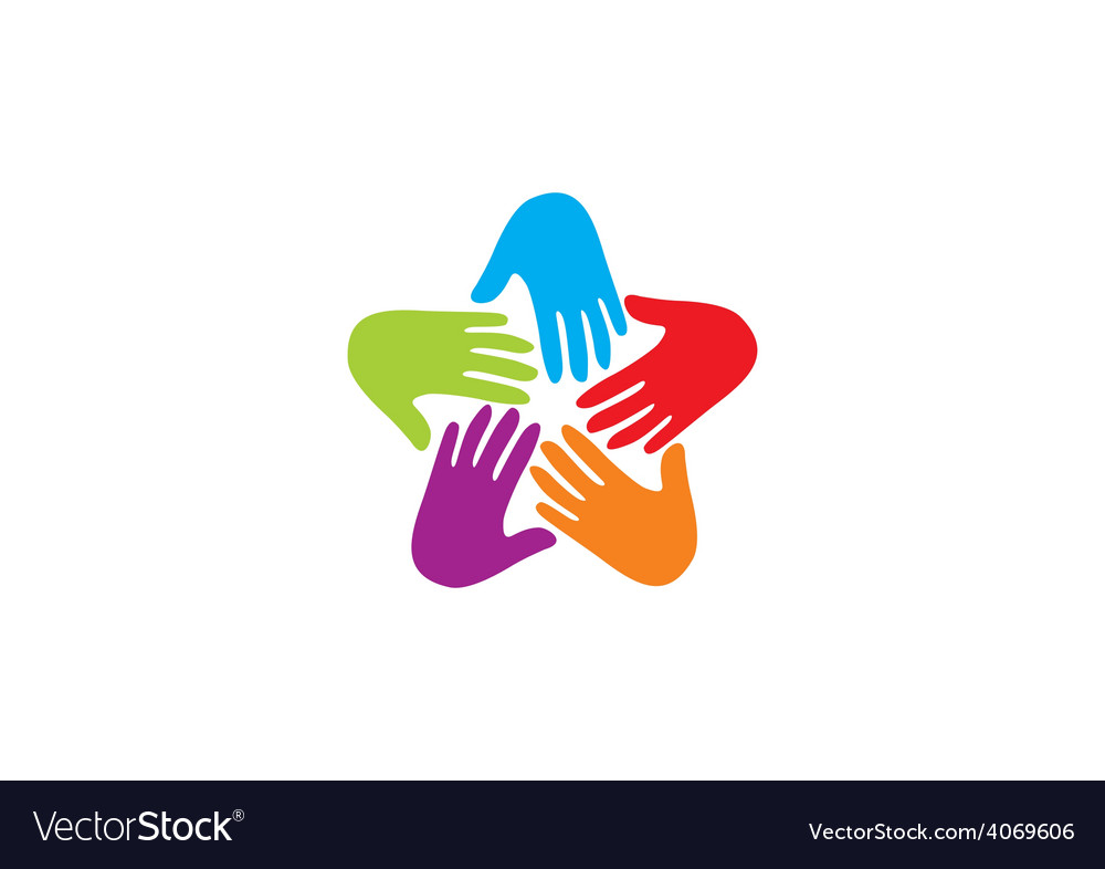 Hands circle teamwork logo.