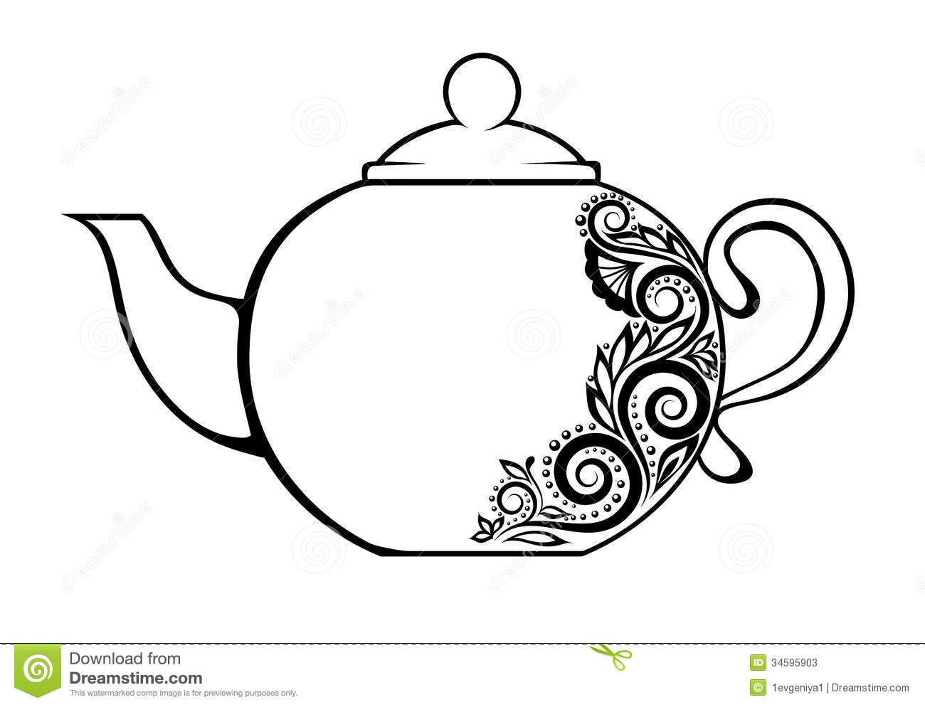 Beautiful Tea Pot Clipart #1.