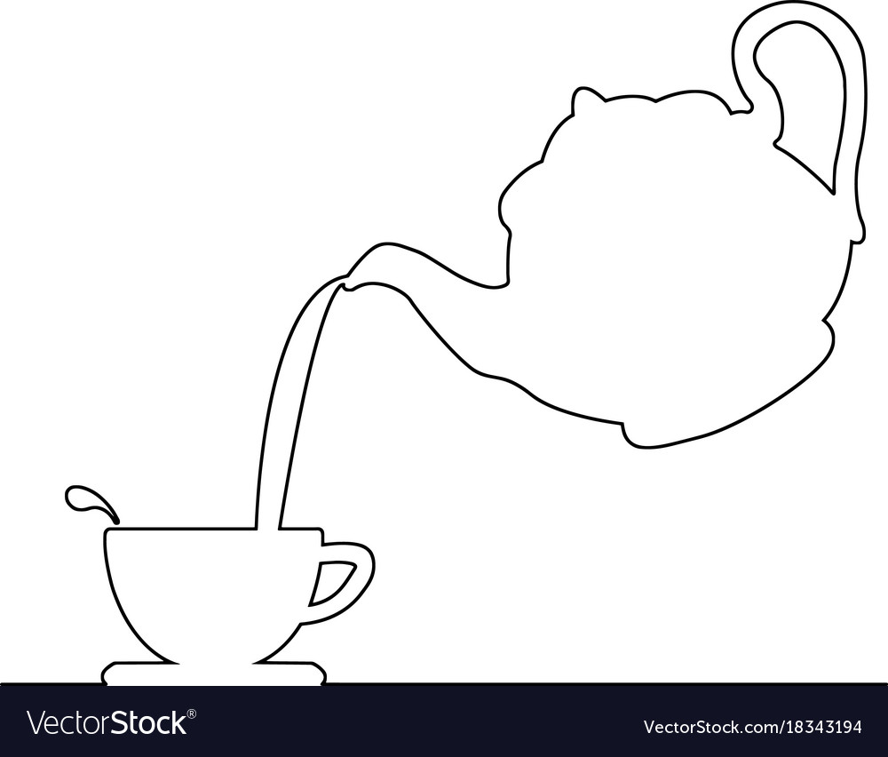 Pouring coffee from kettle to tea cup vector image.