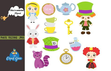 Alice in Wonderland, Cheshire Cat, Mad Hatter, Tea Party.