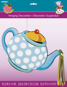 Details about Mad Hatter Tea Party Hanging cutout decoration Birthday  Supplies Alice Teapot.