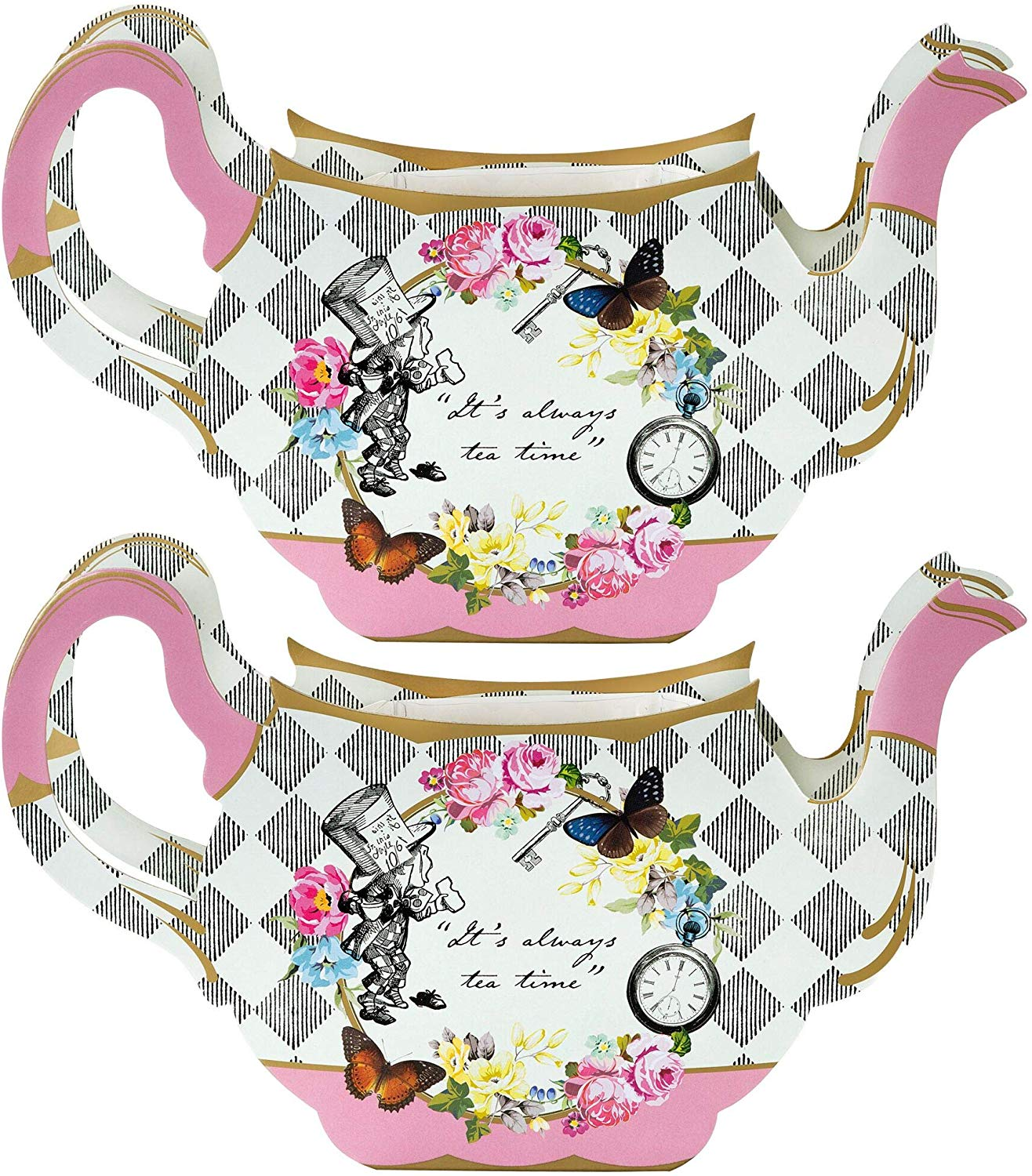 Talking Tables Truly Alice Teapot Vase Table Decoration for a Tea Party,  Multicolor (2 Pack).