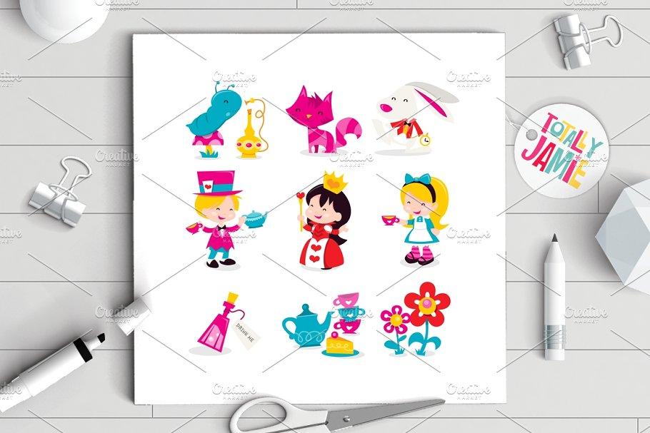 Whimsical Retro Alice In Wonderland ~ Illustrations.