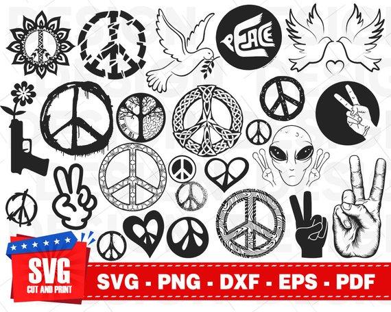 Peace Sign svg, peace svg bundle, hippie svg, love peace svg.