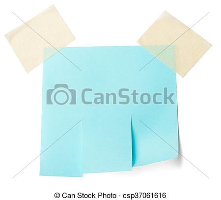 Stock Photography of Blank blue paper with tear off tabs. Isolated.