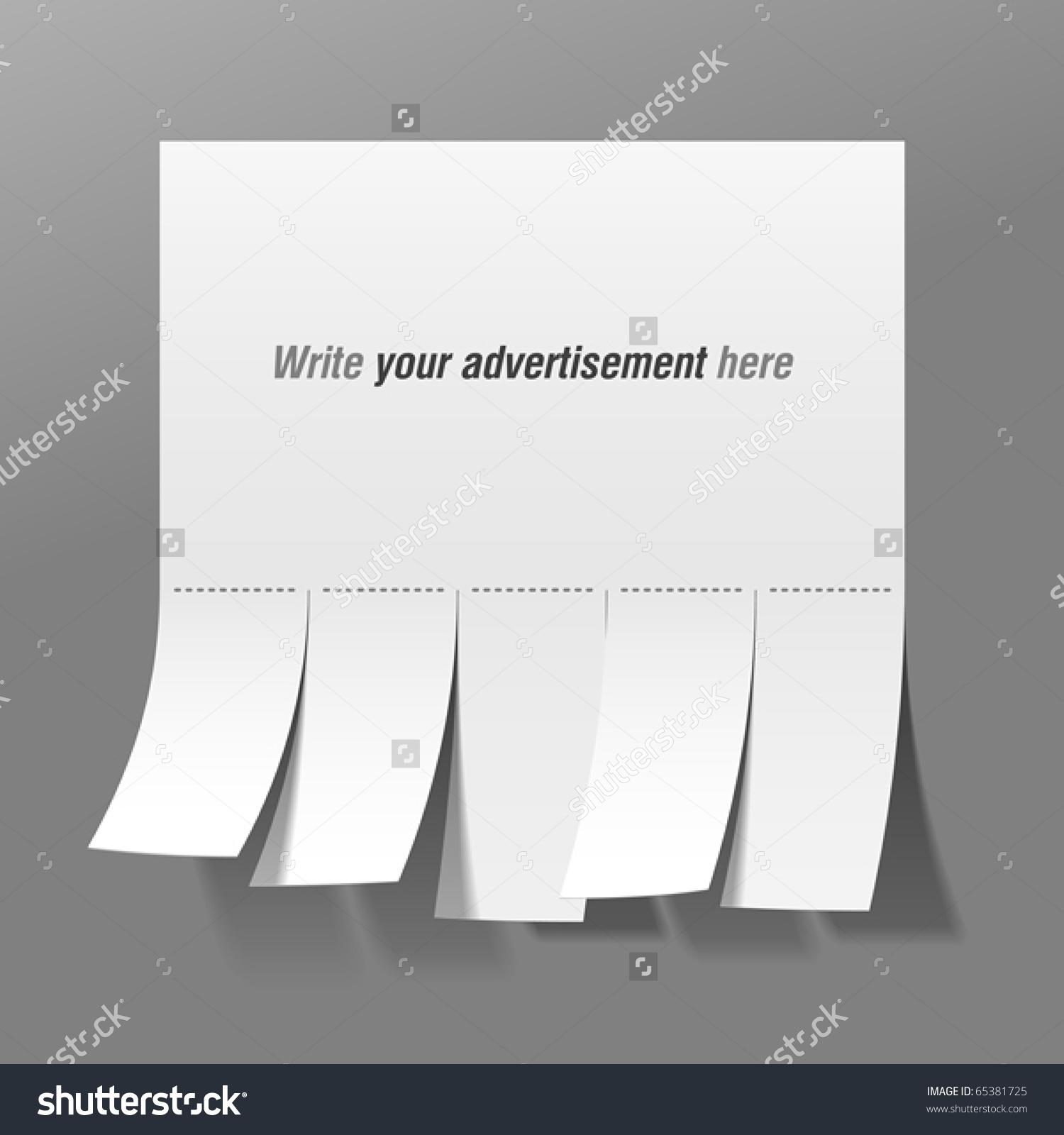 Blank Advertisement Tear Off Tabs Vector Stock Vector 65381725.