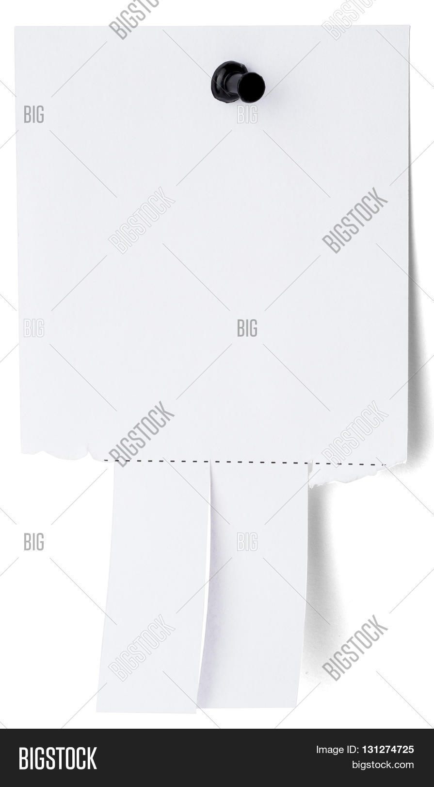 Blank white paper with tear off tabs. Isolated on white Stock.