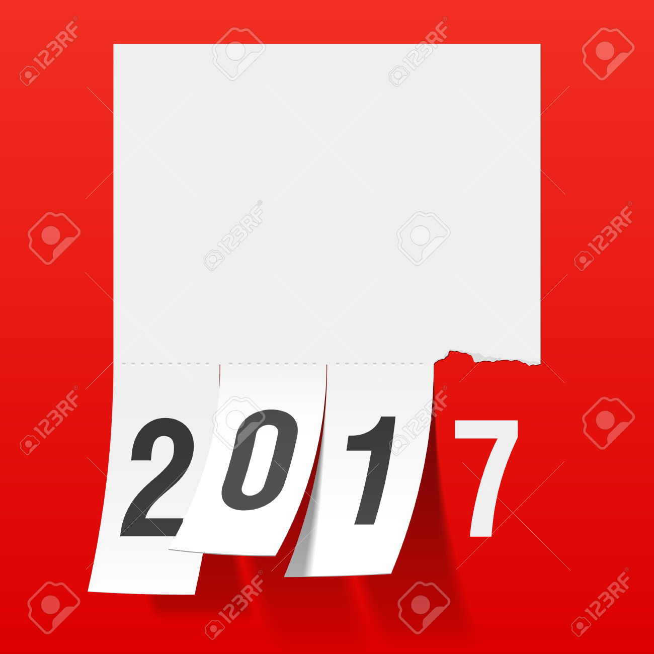 New Year 2017 Greeting Card. Tear Of Paper Notice, Tear Off Tabs.