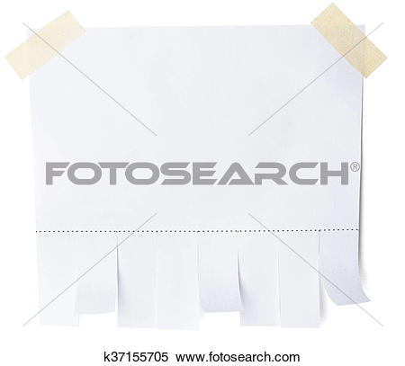 Stock Image of Blank white paper with tear off tabs k37155705.