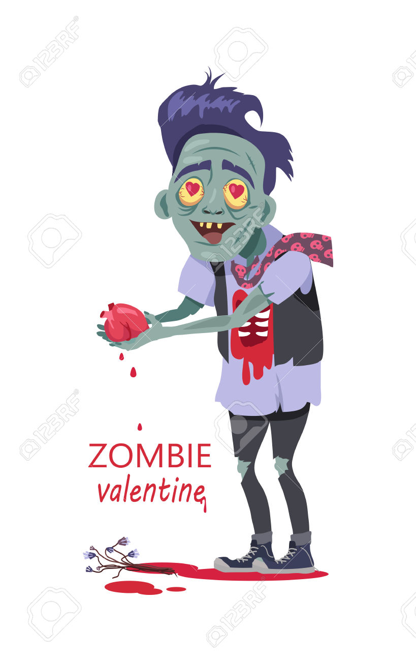 Scary Zombie Valentine. Dead Man With Grey Skin, In Torn Clothes.